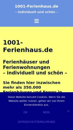 Vorschau der mobilen Webseite www.1001-ferienhaus.de, 1001-Ferienhaus.de