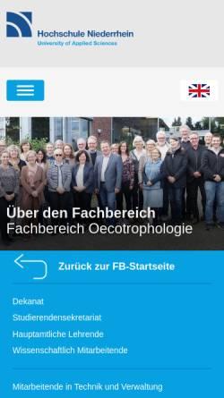 Vorschau der mobilen Webseite www.hs-niederrhein.de, Fachschaftsrat Oecotrophologie der Hochschule Niederrhein