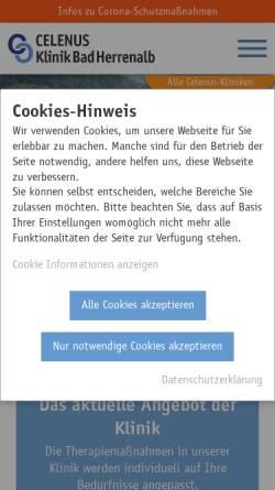 Vorschau der mobilen Webseite www.klinik-bad-herrenalb.de, Klinik Bad Herrenalb GmbH - Fachklinik für Psychosomatische Medizin