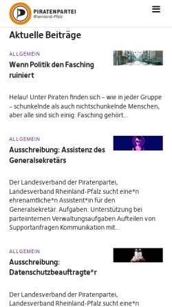 Vorschau der mobilen Webseite www.piraten-rlp.de, Piratenpartei Rheinland-Pfalz