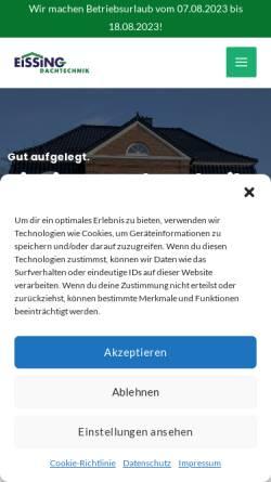 Vorschau der mobilen Webseite eissing-dachtechnik.de, Eissing Dachtechnik GmbH