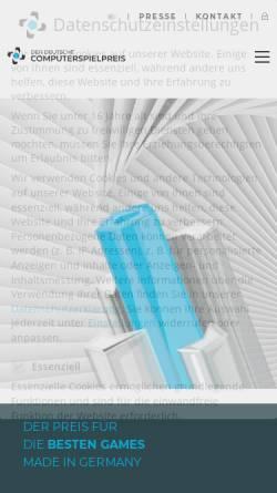 Vorschau der mobilen Webseite deutscher-computerspielpreis.de, Deutscher Computerspielpreis