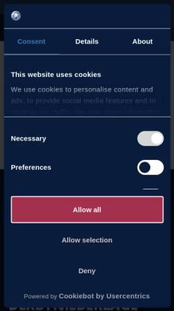 """Vorschau der mobilen Webseite www.bhc06.de, Bergischer HC """"Die Bergischen Löwen"""""""
