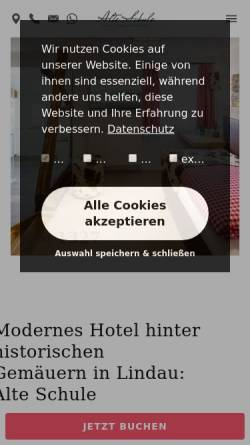 Vorschau der mobilen Webseite www.hotelalteschule-lindau.de, Alte Schule Lindau