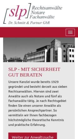 Vorschau der mobilen Webseite www.slp-anwaelte.de, Dr. Schmitt, Rosbach und Partner, Rechtsanwälte, Notare, Fachanwälte