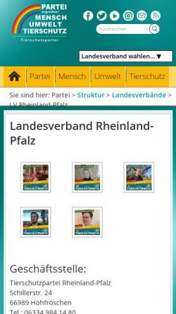 Vorschau der mobilen Webseite www.tierschutzpartei-rheinland-pfalz.de, Tierschutzpartei Landesverband Rheinland-Pfalz