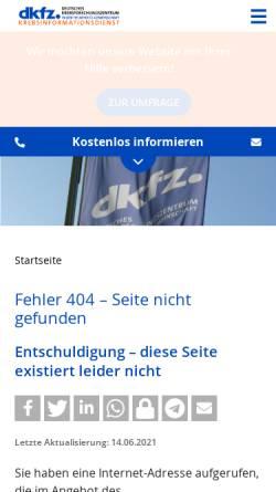 Vorschau der mobilen Webseite www.krebsinformation.de, Krebsinformation.de