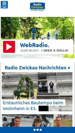 Vorschau der mobilen Webseite www.radiozwickau.de, Radio Zwickau 96.2