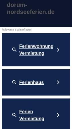 Vorschau der mobilen Webseite dorum-nordseeferien.de, Ferienhäuser, Ferienwohnungen, Appartements an der Nordseeküste