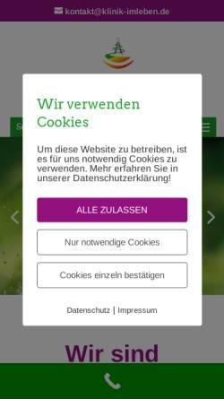 Vorschau der mobilen Webseite www.klinik-imleben.de, Klinik im LEBEN GmbH