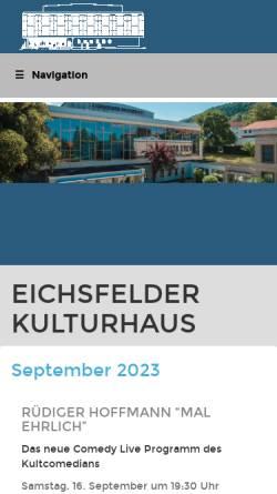 Vorschau der mobilen Webseite www.eichsfelder-kulturhaus.de, Eichsfelder Kulturhaus