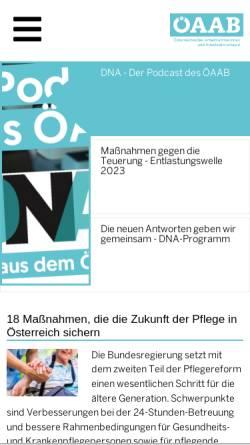 Vorschau der mobilen Webseite www.oeaab.com, Österreichischer Arbeitnehmerinnen und Arbeitnehmerbund (ÖAAB)