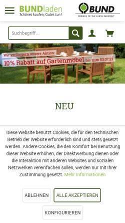 Vorschau der mobilen Webseite www.bundladen.de, BUNDladen, Natur und Umwelt Service- und Verlags GmbH