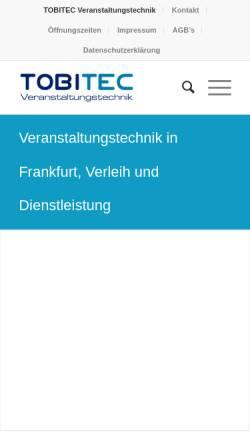 Vorschau der mobilen Webseite www.tobitec.de, TOBITEC Veranstaltungstechnik - Guba, Berger & Guba GbR