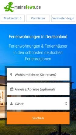 Vorschau der mobilen Webseite www.meinefewo.de, MeineFewo.de