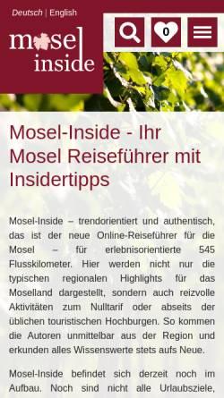 Vorschau der mobilen Webseite www.mosel-pensionen-hotels.de, Mosel Pensionen und Hotels