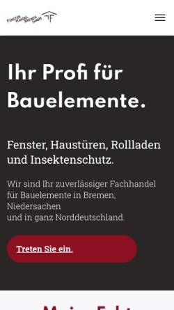 Vorschau der mobilen Webseite www.fensterhandelbremen.de, Fenster Handel Bremen GmbH
