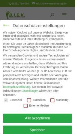 Vorschau der mobilen Webseite www.biek-ausbildung.de, Bergsträßer Institut für ganzheitliche Entspannung und Kommunikation