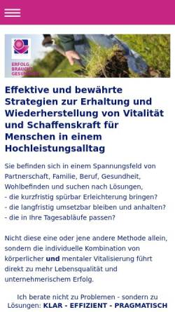 Vorschau der mobilen Webseite www.ganzgesundsein.de, Renate Richter - Praxis für Gesundheit und Erfolg