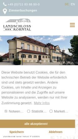 Vorschau der mobilen Webseite www.landschloss-korntal.de, Landschloss Korntal