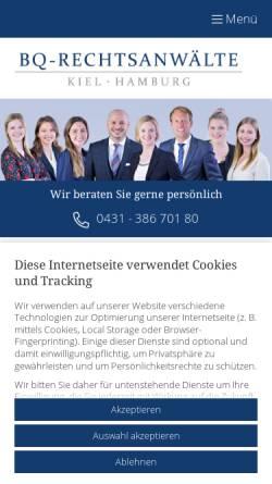 Vorschau der mobilen Webseite www.bq-rechtsanwaelte.de, BQ-Rechtsanwälte Oppermann, Bergmann & Partner mbB