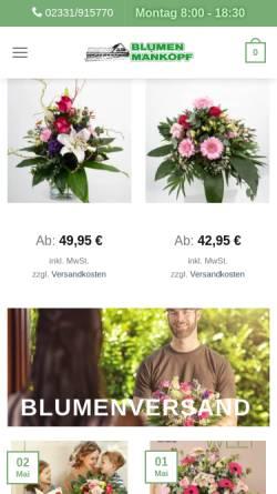 Vorschau der mobilen Webseite www.blumen-mankopf.de, Blumen Bruno Mankopf