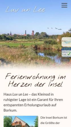 Vorschau der mobilen Webseite www.haus-luvunlee.de, Ferienwohnung 'Luv un Lee'