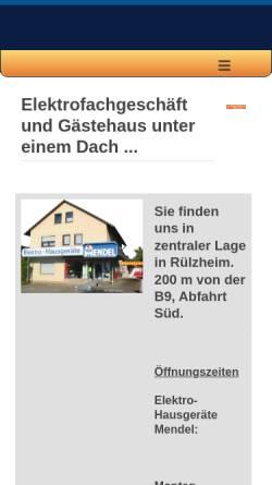 Vorschau der mobilen Webseite www.elektromendel.de, Elektro-Hausgeräte Mendel