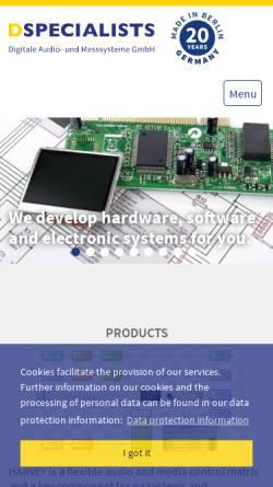 Vorschau der mobilen Webseite www.dspecialists.de, DSPecialists - Digitale Audio- und Messsysteme GmbH