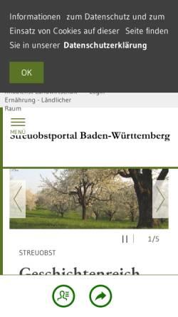 Vorschau der mobilen Webseite www.streuobstwiesen-bw.de, Streuobstportal des Landes Baden-Württemberg