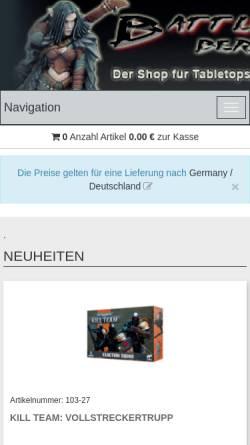 Vorschau der mobilen Webseite shop.battlefield-berlin.de, Garbotz und Weiß GbR