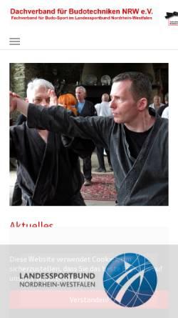 Vorschau der mobilen Webseite www.budo-nrw.de, Dachverband für Budotechniken Nordrhein-Westfalen e.V.