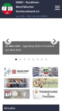 Vorschau der mobilen Webseite www.nrwkendo.de, Nordrhein-Westfälerischer Kendoverband e.V. (NWKV)