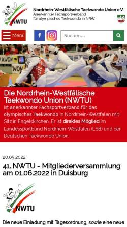 Vorschau der mobilen Webseite www.nwtu.de, Nordrhein-Westfälische Taekwondo Union e. V.
