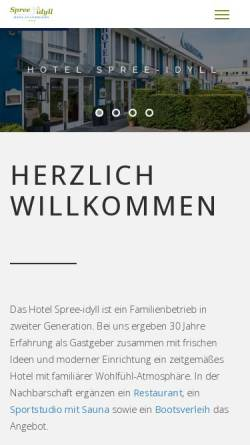 Vorschau der mobilen Webseite www.spree-idyll.de, Hotel