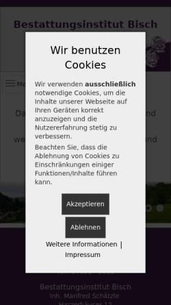 Vorschau der mobilen Webseite www.bestattungen-bisch.de, Bestattungsinstitut Bisch