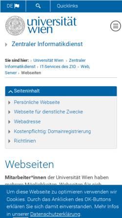 Vorschau der mobilen Webseite homepage.univie.ac.at, Liebe und Widerstand