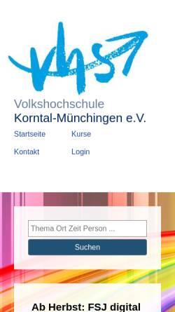 Vorschau der mobilen Webseite www.vhs-korntal-muenchingen.de, vhs Korntal-Münchingen
