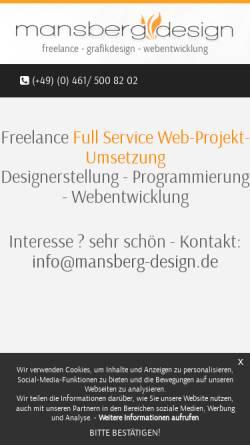 Vorschau der mobilen Webseite www.mansberg-design.de, Noncrease Design, Bernd Mansberg