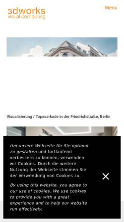 Vorschau der mobilen Webseite www.3dworks.com, 3dworks visual computing, Dipl.-Ing. Markus Gröteke