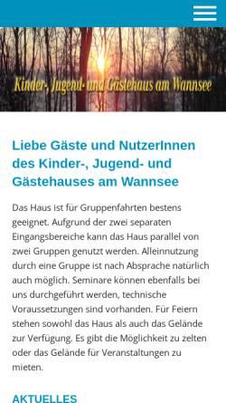 Vorschau der mobilen Webseite www.haus-am-wannsee.de, Kinder-, Jugend- und Gästehaus am Wannsee
