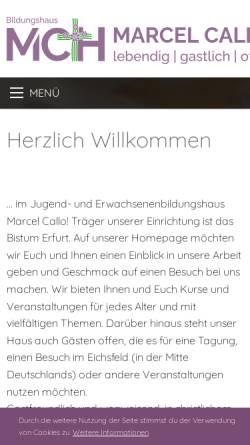 Vorschau der mobilen Webseite www.mch-heiligenstadt.de, Jugend und Erwachsenen-Bildungshaus Marcel Callo