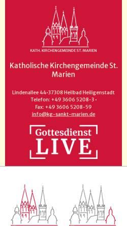 Vorschau der mobilen Webseite www.sankt-marien-heiligenstadt.de, Kath. Propsteipfarrei St. Marien - Heilbad Heiligenstadt