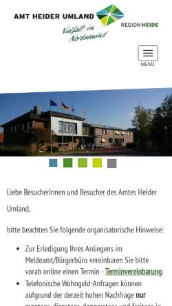 Vorschau der mobilen Webseite www.amt-heider-umland.de, Amt KLG Heider Umland