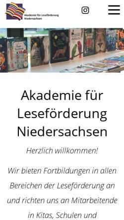 Vorschau der mobilen Webseite www.alf-hannover.de, Akademie für Leseförderung der Stiftung Lesen an der Gottfried Wilhelm Leibniz Bibliothek