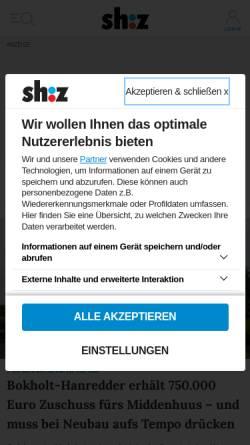 Vorschau der mobilen Webseite www.shz.de, Elmshorner Nachrichten