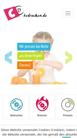 Vorschau der mobilen Webseite cdbedrucken24.de, CD-Bedrucken, Inh: Justyna Makowska