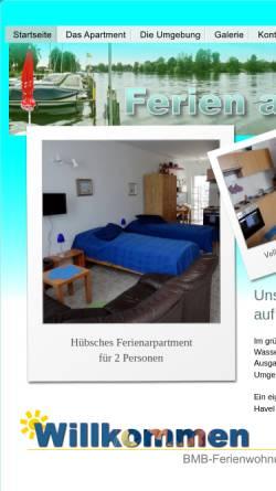 Vorschau der mobilen Webseite www.bmb-ferienwohnungen.de, BMB-Ferienwohnungen in Tegelort