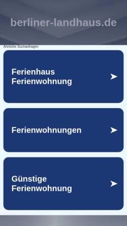 Vorschau der mobilen Webseite www.berliner-landhaus.de, Ferienwohnung Berliner Landhaus