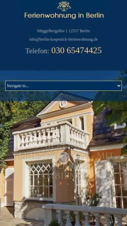 Vorschau der mobilen Webseite www.berlin-koepenick-ferienwohnung.de, Ferienwohnungen Löber
